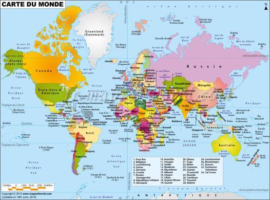 carte du monde en français
