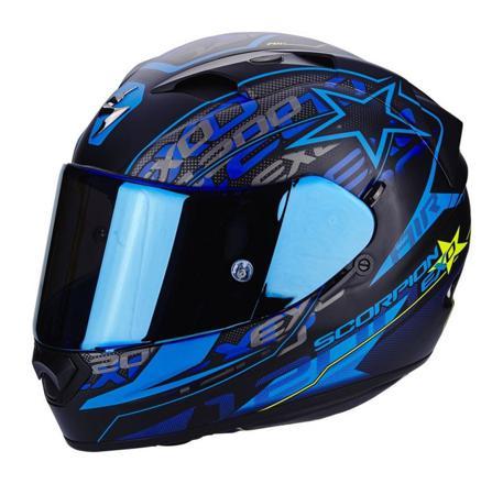 casque moto noir et bleu