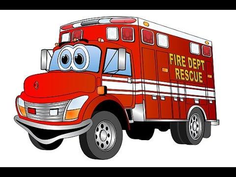 camion pompier dessin animé