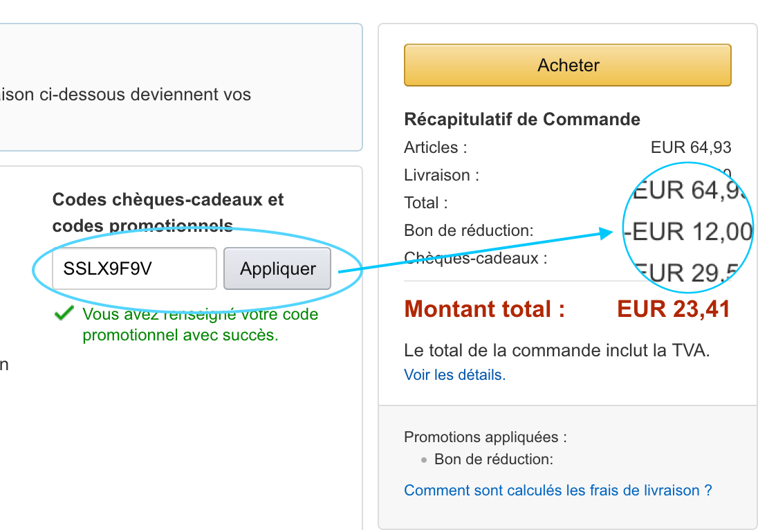 code bon de reduction amazon