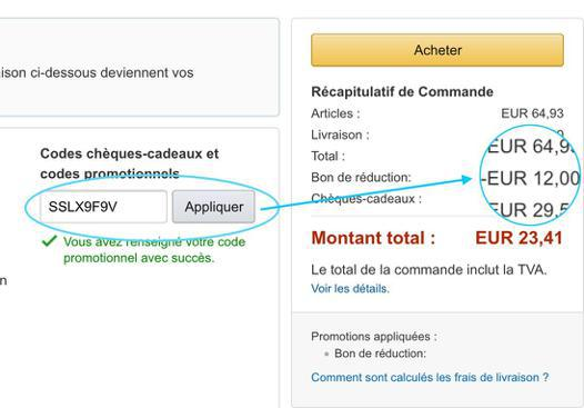 code reduction sur amazon